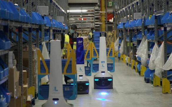 Locus robots in a warehouse