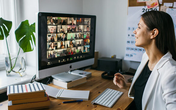 woman talking on a video conference